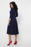черное платье с кожаными вставками. платье Вилора д/р. Цвет: синий в интернет-магазине