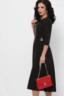 черное платье с кожаными вставками. платье Вилора д/р. Цвет: черный цена