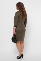 замшевое платье для полных женщин. платье Руфина-Б д/р. Цвет: хаки в интернет-магазине