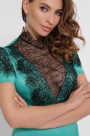 кружевное атласное платье. платье Дафния к/р. Цвет: св. зеленый в Украине