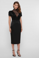 кружевное атласное платье. платье Дафния к/р. Цвет: черный купить