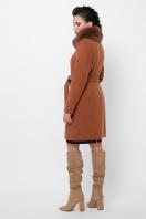 бежевое пальто с меховой опушкой. Пальто П-330-90 з. Цвет: 6139-горчица в интернет-магазине