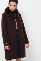 бежевое пальто с меховой опушкой. Пальто П-330-90 з. Цвет: 6099-коричневый купить