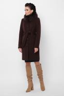 бежевое пальто с меховой опушкой. Пальто П-330-90 з. Цвет: 6099-коричневый в интернет-магазине