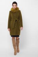 бежевое пальто с меховой опушкой. Пальто П-330-90 з. Цвет: 745-оливка цена