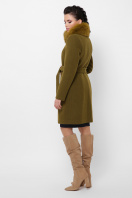 бежевое пальто с меховой опушкой. Пальто П-330-90 з. Цвет: 745-оливка в интернет-магазине