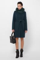 бежевое пальто с меховой опушкой. Пальто П-330-90 з. Цвет: 7169-изумруд цена