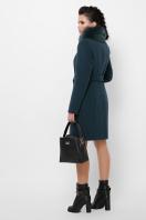 бежевое пальто с меховой опушкой. Пальто П-330-90 з. Цвет: 7169-изумруд в интернет-магазине