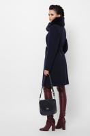 бежевое пальто с меховой опушкой. Пальто П-330-90 з. Цвет: 5132-синий в интернет-магазине