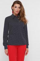 синяя офисная рубашка. блуза Вендис д/р. Цвет: синий-бел.горох-красн купить