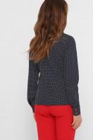 синяя офисная рубашка. блуза Вендис д/р. Цвет: синий-бел.горох-красн цена