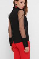 блузка черного цвета с прозрачными рукавами. блуза Соломея д/р. Цвет: черный 1 цена