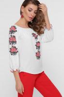 блузка с орнаментом и открытыми плечами. Красные цветы блуза Юния 3/4. Цвет: белый купить