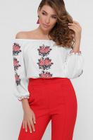 блузка с орнаментом и открытыми плечами. Красные цветы блуза Юния 3/4. Цвет: белый цена