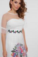 цветочное платье с сеткой сверху. Цветочный орнамент платье Уна б/р. Цвет: белый в интернет-магазине