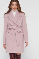 светло-серое двубортное пальто. Пальто ПМ-132. Цвет: 27-пудра купить