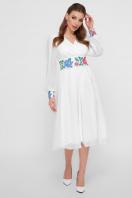 белое платье в этно стиле. Цветы-орнамент платье Лианна д/р. Цвет: белый купить