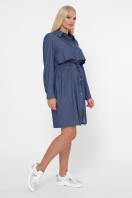 бордовое платье для полных женщин. 0301 Платье-рубашка. Цвет: джинс в интернет-магазине
