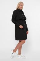 бордовое платье для полных женщин. 0301 Платье-рубашка. Цвет: черный в интернет-магазине