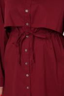 бордовое платье для полных женщин. 0301 Платье-рубашка. Цвет: бордо недорого