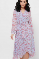 . платье Алеста д/р. Цвет: голубой-цветы красн. купить
