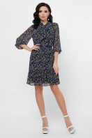 платье из шифона с рукавом три четверти. платье Малика д/р. Цвет: синий-цветы розов. в интернет-магазине
