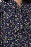 платье из шифона с рукавом три четверти. платье Малика д/р. Цвет: синий-цветы розов. недорого