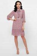 платье из шифона с рукавом три четверти. платье Малика д/р. Цвет: лиловый-цветы синие в интернет-магазине