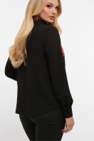 блузка с маками больших размеров. Маки блуза Лекса-Б КШ д/р. Цвет: черный купить