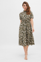 . платье Изольда-Б к/р. Цвет: хаки- цветы купить