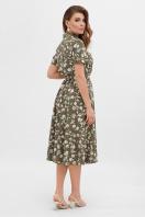 . платье Изольда-Б к/р. Цвет: хаки- цветы цена