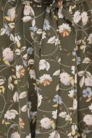 . платье Изольда-Б к/р. Цвет: хаки- цветы в интернет-магазине