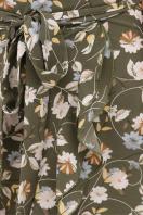 горчичное платье на запах. платье София б/р. Цвет: хаки- цветы в интернет-магазине