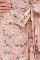 горчичное платье на запах. платье София б/р. Цвет: персик-цветы в интернет-магазине