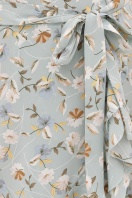горчичное платье на запах. платье София б/р. Цвет: св. голубой- цветы в интернет-магазине
