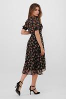 цветастое платье из шифона. платье Алеста к/р. Цвет: черный-роза красная в Украине