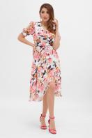 цветастое платье из шифона. платье Алеста к/р. Цвет: белый-розы в интернет-магазине
