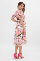 цветастое платье из шифона. платье Алеста к/р. Цвет: белый-розы в Украине