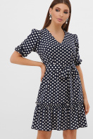 короткое платье с принтом. платье Мальвина к/р. Цвет: синий-белый горох с. цена