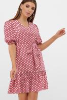 горчичное платье в горошек. платье Мальвина к/р. Цвет: т.розовый-белый горох с. купить