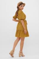 короткое платье с принтом. платье Мальвина к/р. Цвет: горчица-черный горох с. в интернет-магазине
