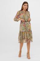 шифоновое платье цвета оливки. платье Элисон 3/4. Цвет: оливка-цветы-листья цена
