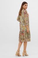 шифоновое платье цвета оливки. платье Элисон 3/4. Цвет: оливка-цветы-листья в интернет-магазине