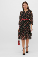 белое платье с цветочным рисунком. платье Элисон 3/4. Цвет: черный-роза красная цена