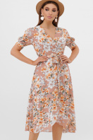 платье с розами на запах. платье Алеста к/р. Цвет: бежевый-цветы оранж. купить