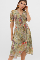. Платье Алеста к/р. Цвет: оливка-цветы-листья цена