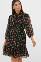 платье из шифона с рукавом три четверти. платье Малика д/р. Цвет: черный-роза красная купить