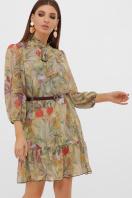 платье из шифона с рукавом три четверти. платье Малика д/р. Цвет: оливка-цветы-листья цена