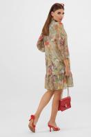 платье из шифона с рукавом три четверти. платье Малика д/р. Цвет: оливка-цветы-листья в интернет-магазине