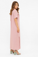 длинное розовое платье-рубашка. платье-рубашка Мелиса к/р. Цвет: пыльная роза цена